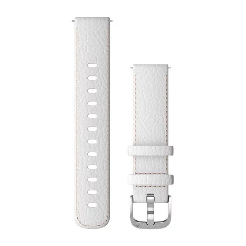 Garmin Schnellwechsel Armband 18mm Leder Weiß/Silber