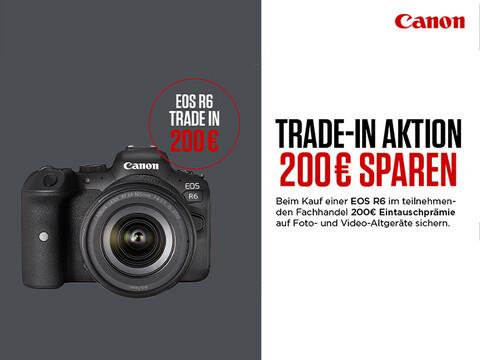 eine Canon EOS R6 in Schwarz auf grauem Hintergrund mit Infos zu Trade-in-Aktion mit bis zu 200 Euro Ersparnis