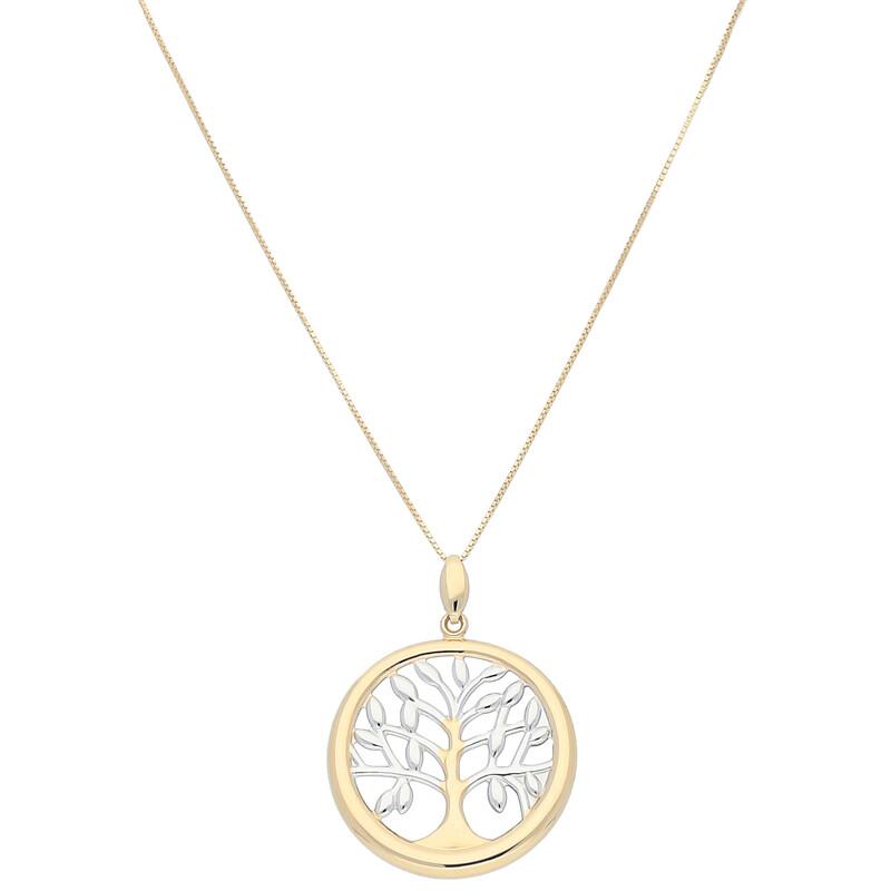 Goldkette 45cm mit Lebensbaum Anhänger in bicolor