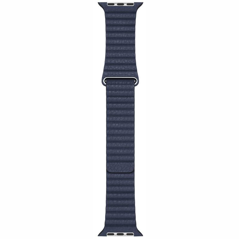 Apple Watch 44mm Lederarmband m. Schlaufe taucherblau groß