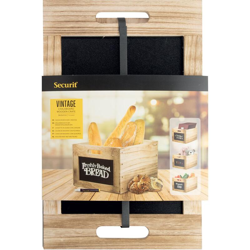 Securit Holzbox / Tablecaddy mit Kreidetafelflächen