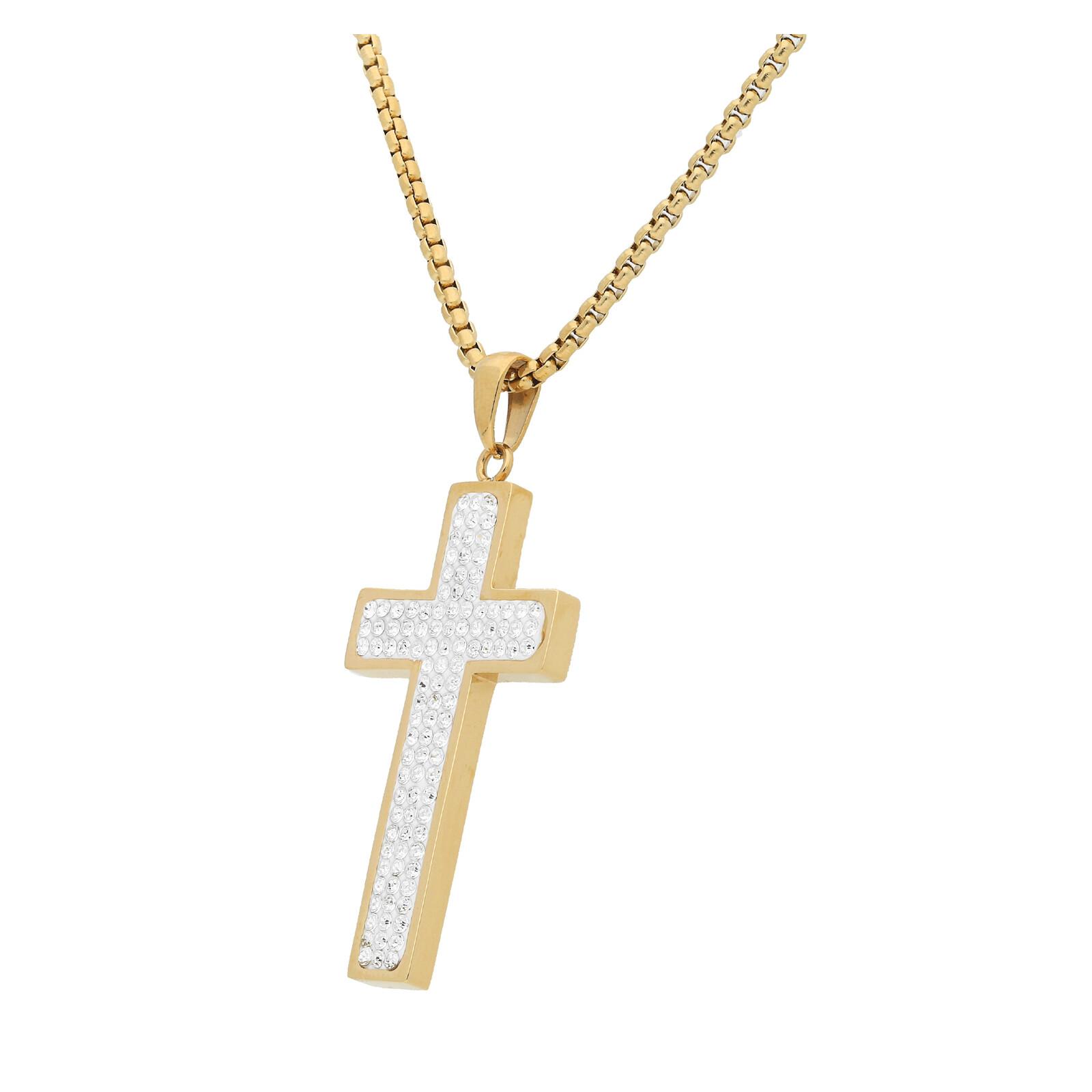 Edelstahlkette Kreuz Kristalle goldfarben