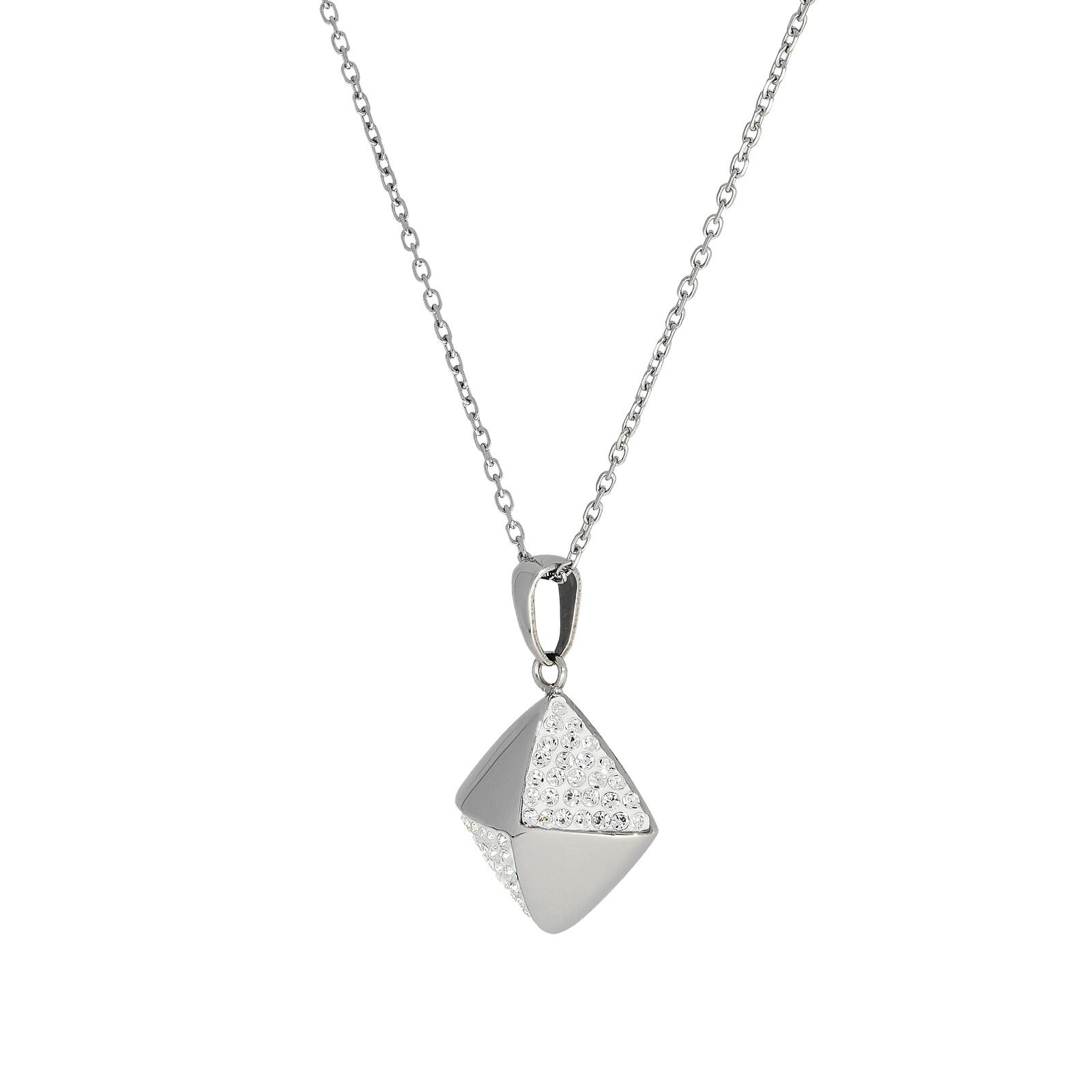 Edelstahlkette Quadrat Kristalle