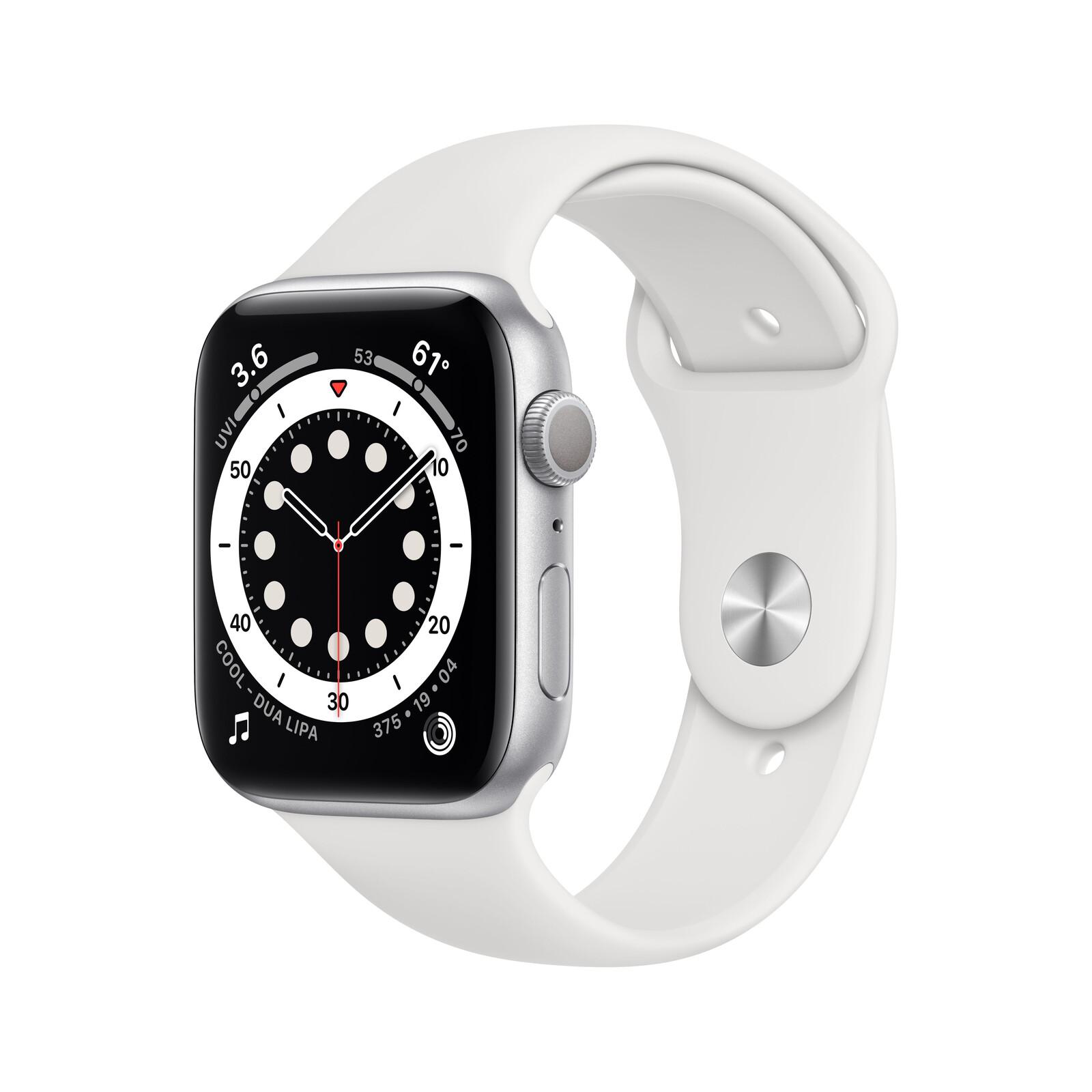 Apple Watch Series 6 GPS Alu silber 44mm weiß