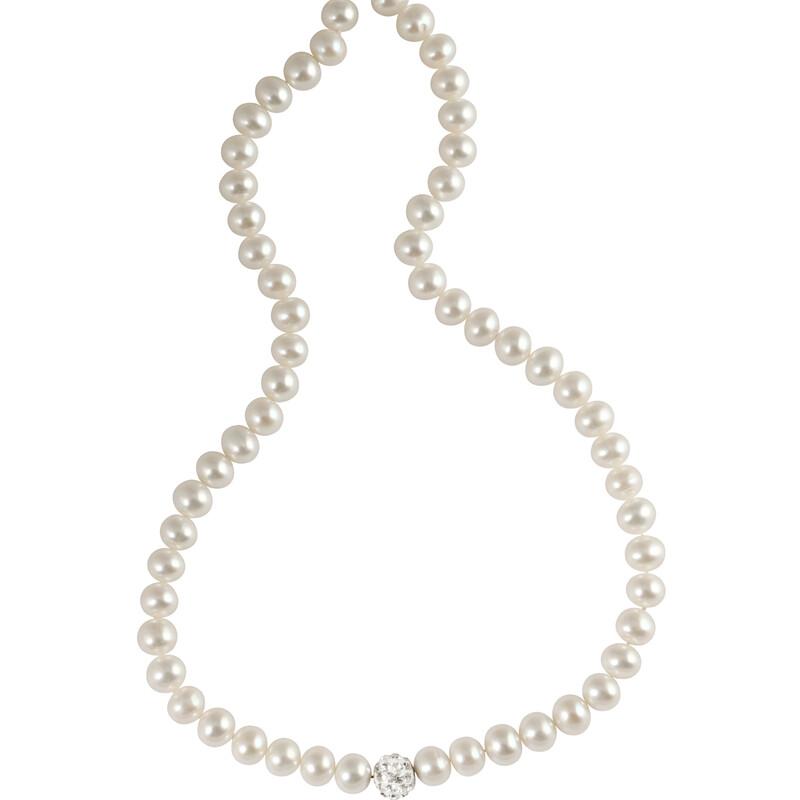 Weiße Perlenkette mit Swarovski Kristallkugel