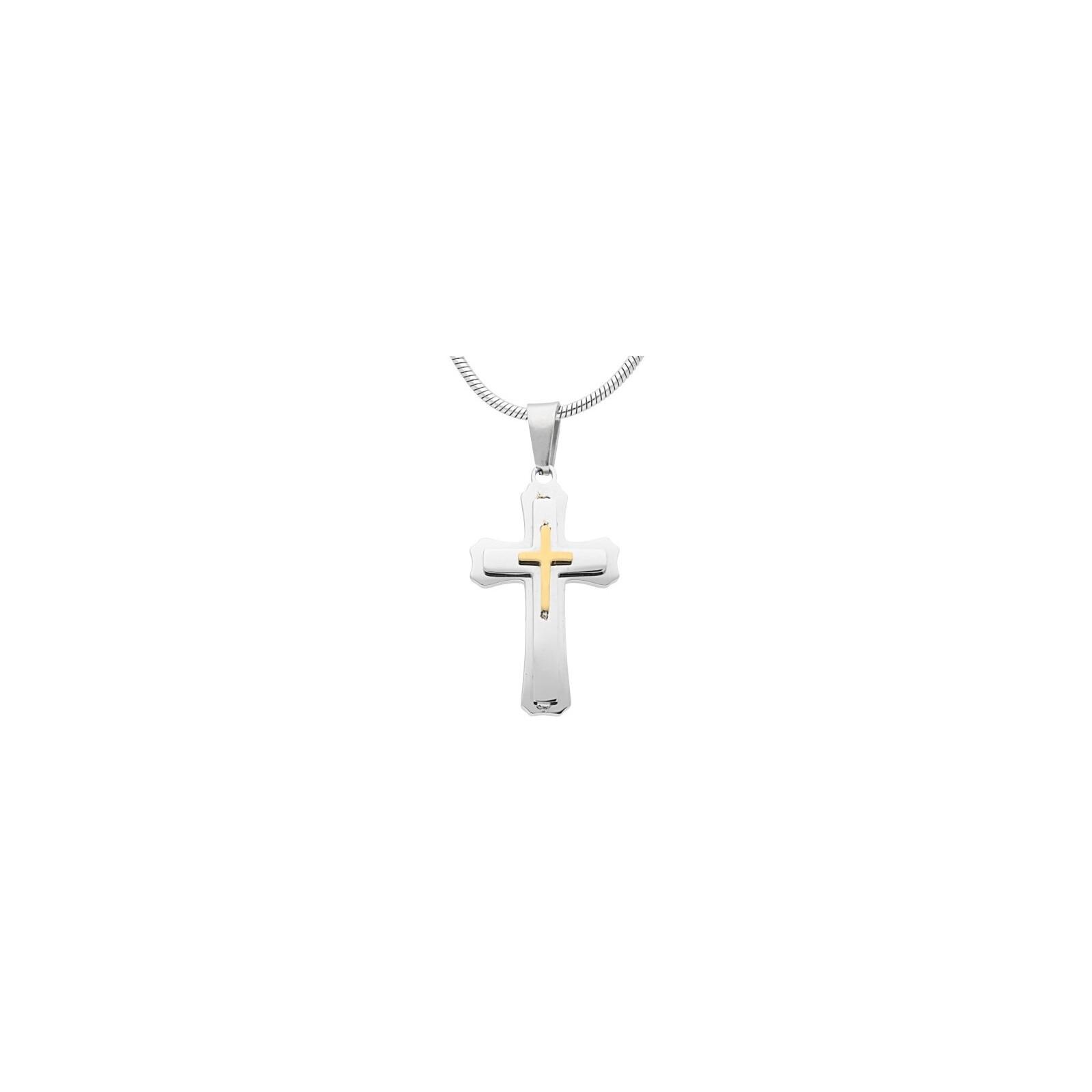 Edelstahlkette Kreuz Silber/Gold