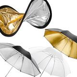 walimex Doppelreflektor + Schirme silber/gold/weiß