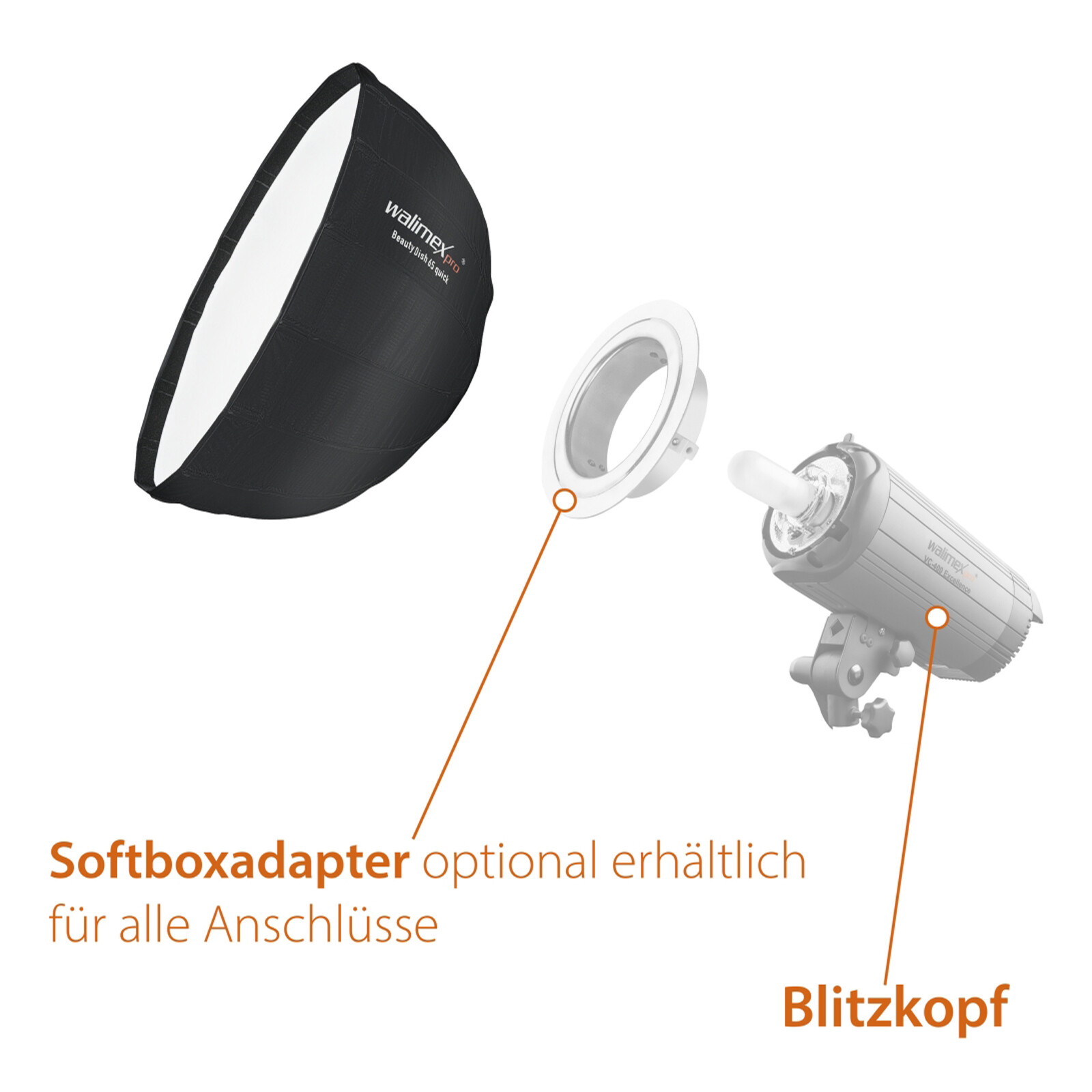 Walimex pro Studio Line Beauty Dish Softbox QA65 Hensel EH/R