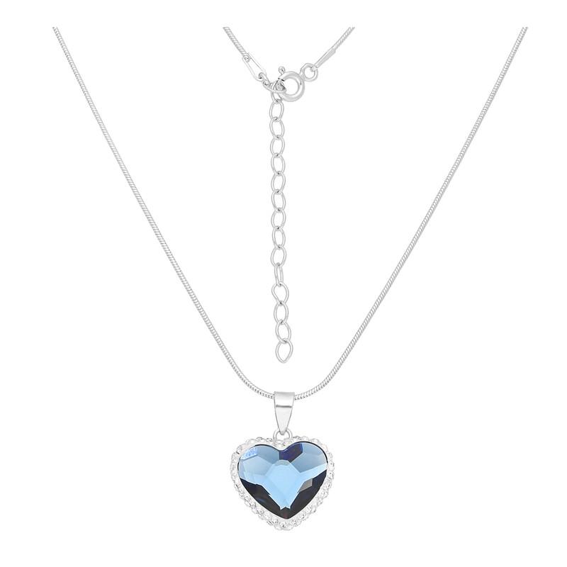 Kette Herz blau Kristalle