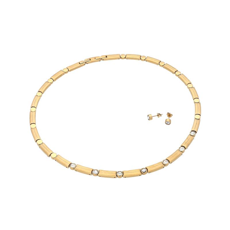 Edelstahlset Collier und Ohrringe goldfarben