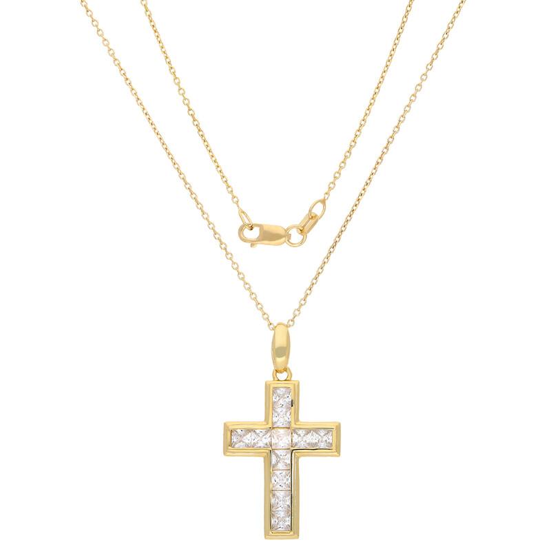 Kette Kreuz vergoldet Zirkonia weiss
