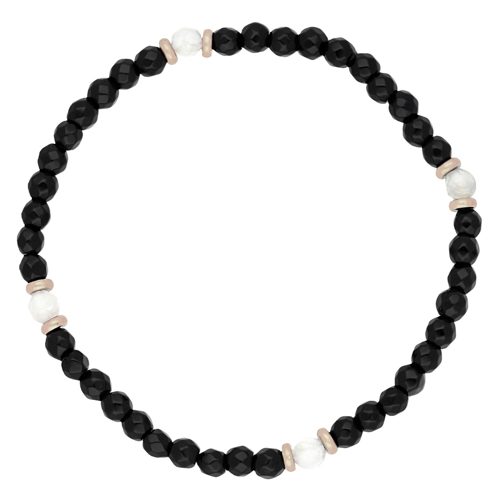 Armband Jade schwarz Achat weiß rosevergoldet echt Silber