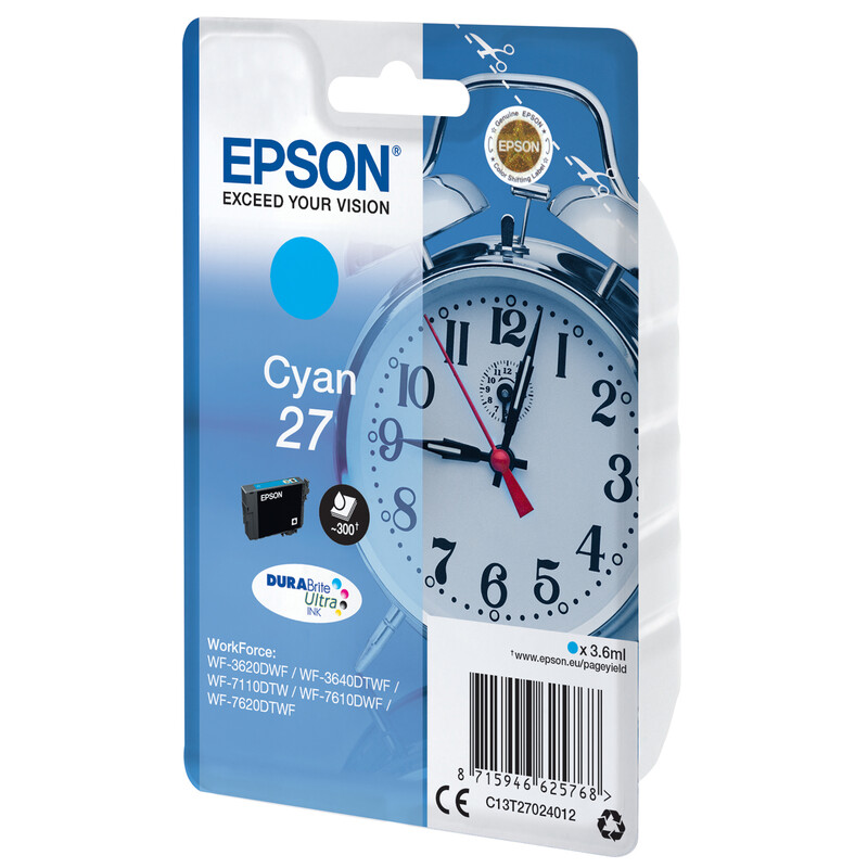 Epson 27 T2702 Tinte Cyan 3,6ml