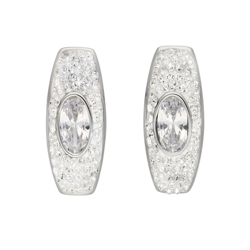 Edelstahlohrstecker Kristalle oval silber