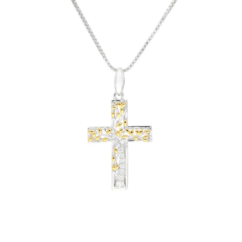 Kette Kreuz Zirkonia Silber/Gold