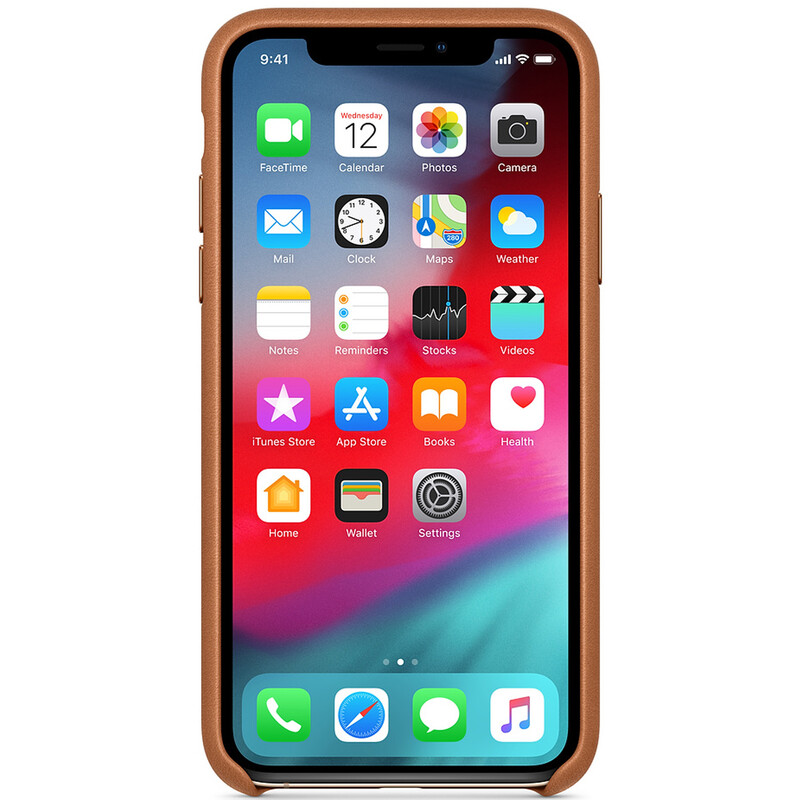 Apple Original Back Cover Leder iPhone XS sattelbraun