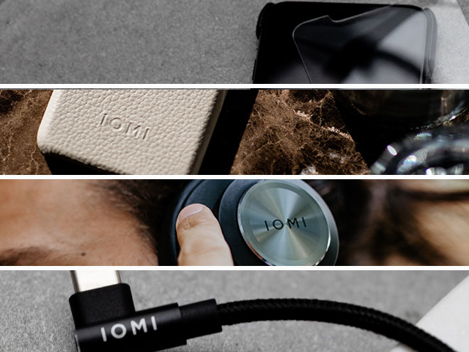 verschiedene IOMI-Produkte wie ein Ladekabel, Kopfhörer und eine Handyhülle