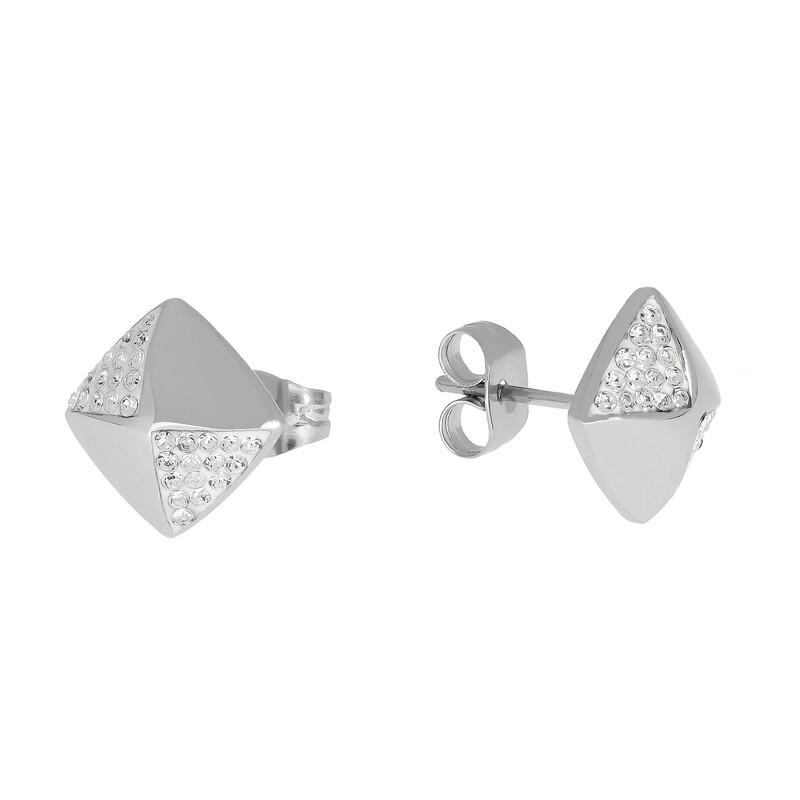 Edelstahlohrstecker Quadrat Kristalle