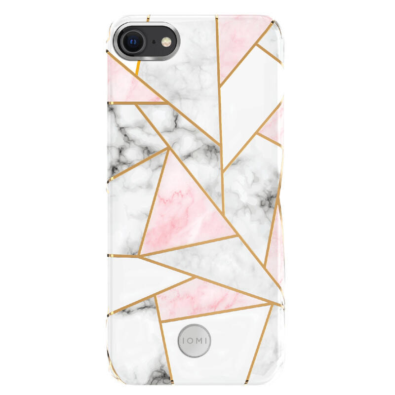 IOMI Back Design Apple iPhone 7/8/SE 2020 marble pink/white