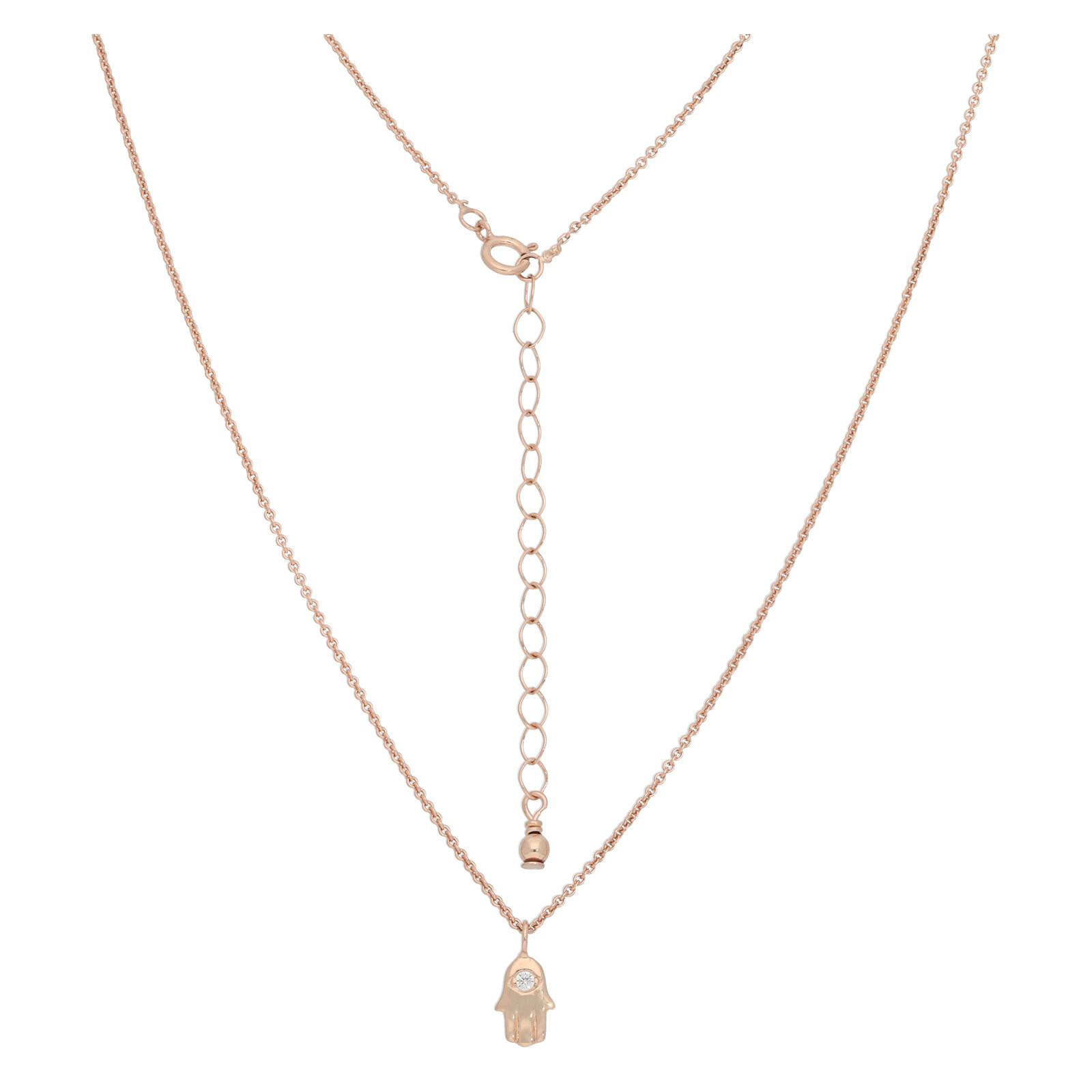 Halskette Hand der Fatima rosevergoldet echt Silber