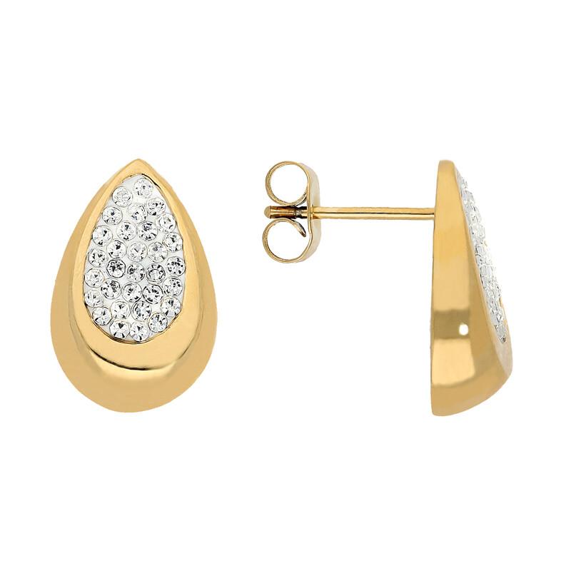 Edelstahlohrstecker Tropfen goldfarben Kristalle