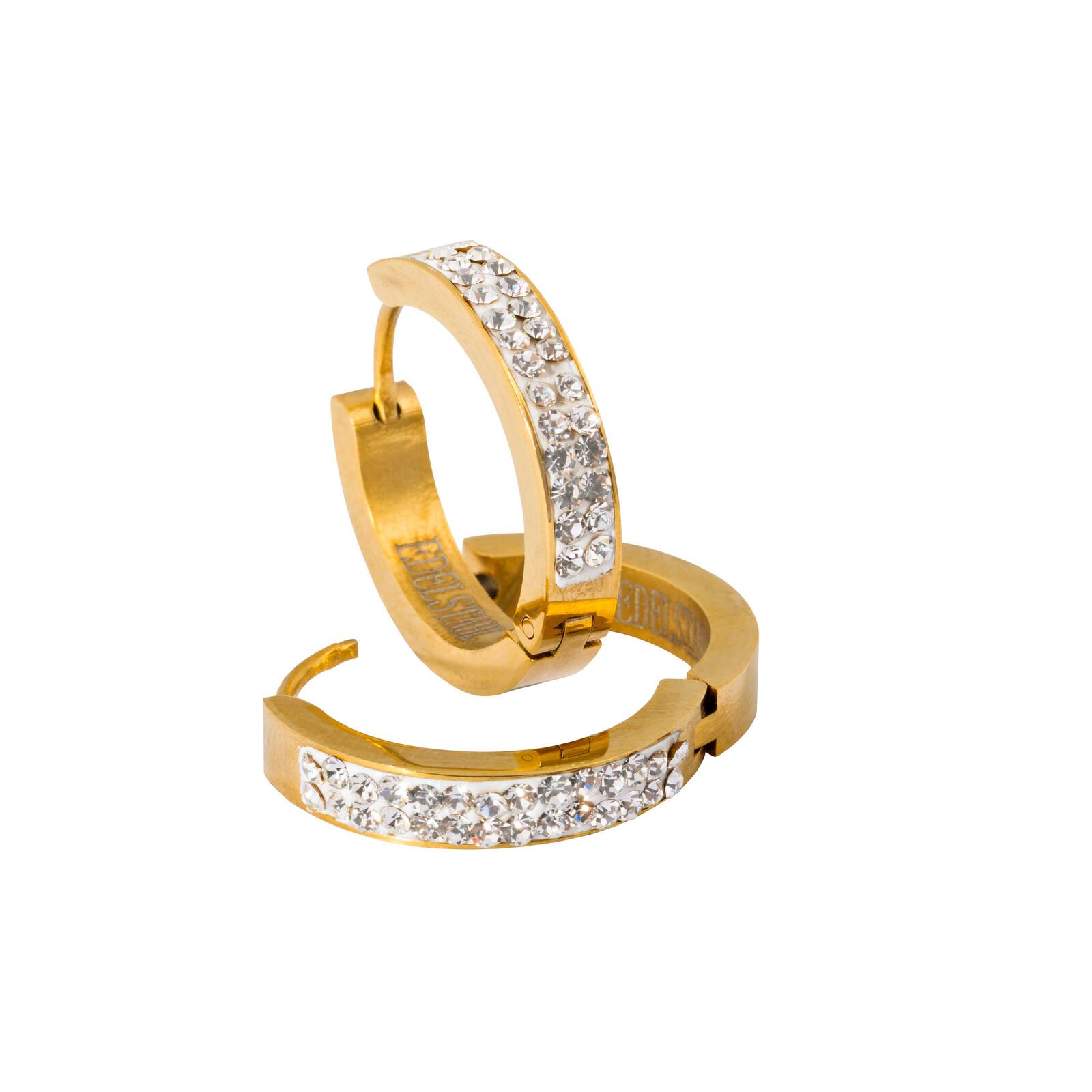Creolen mit Kristallen gold