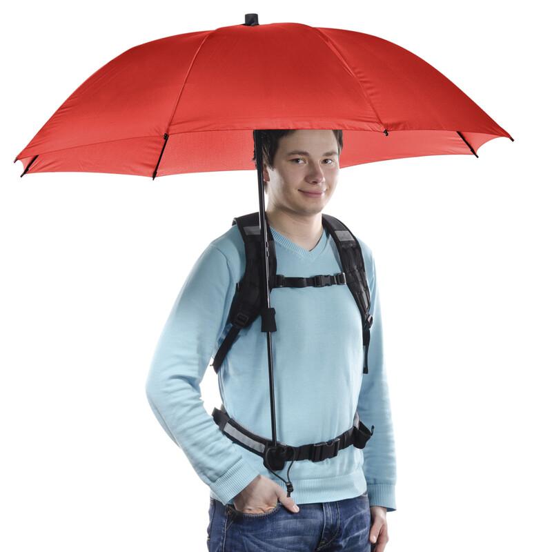Swing handsfree Regenschirm rot mit Tragegestelll