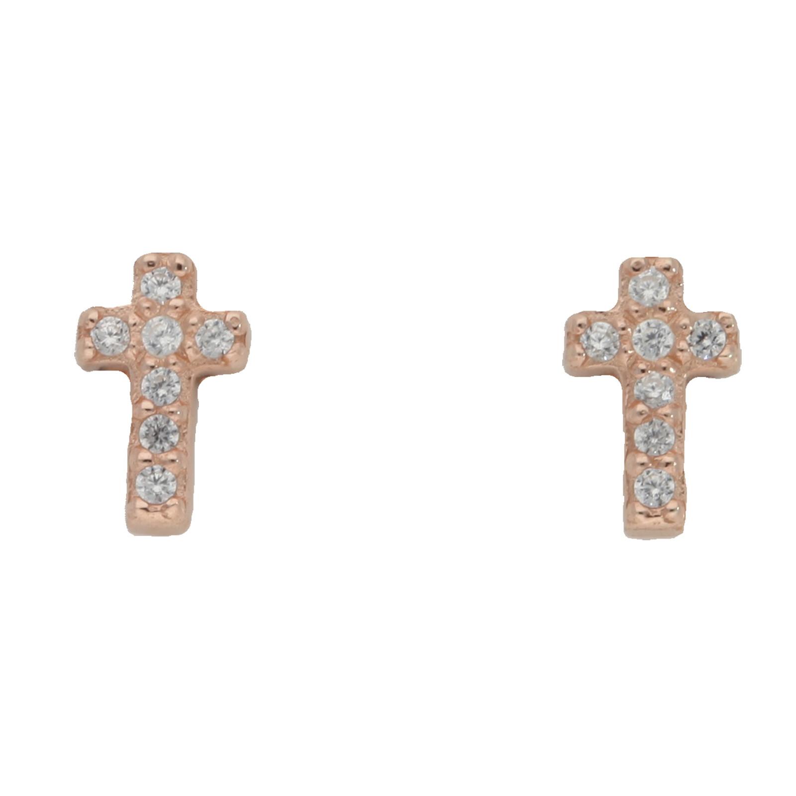 Ohrstecker Cross rosevergoldet echt Silber