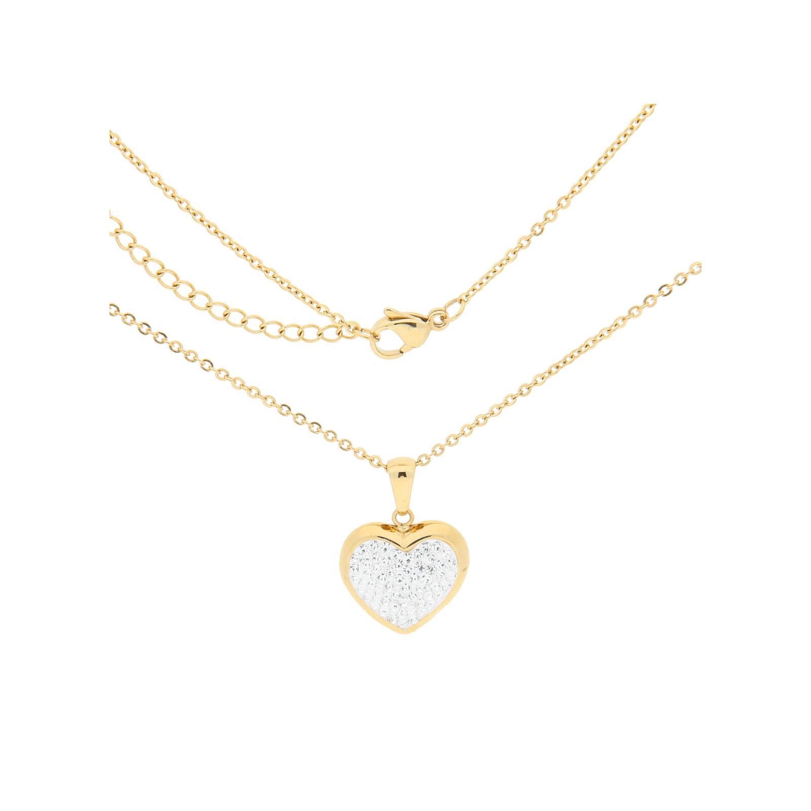 Edelstahlkette Gold Kristall Herz